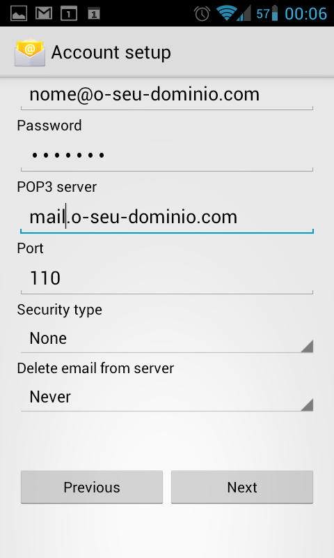 Android E-mail POP3