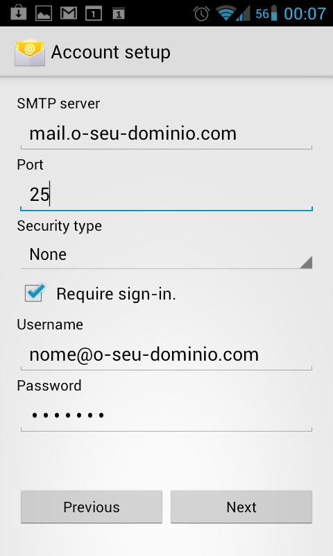 Android E-mail SMTP