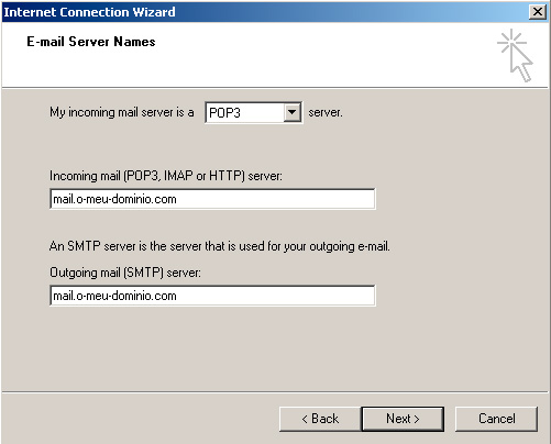 Microsoft Outlook Express - Email server names