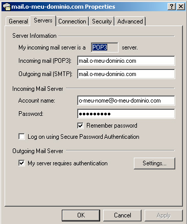 Microsoft Outlook Express - Server Authentication